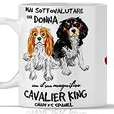 Taza Cavalier King Charles Spaniel para desayuno, té, tisana, café, capuchino. Gadget taza nunca subestimar una mujer con un perro Cavalier King Charles Spaniel. Idea de regalo original