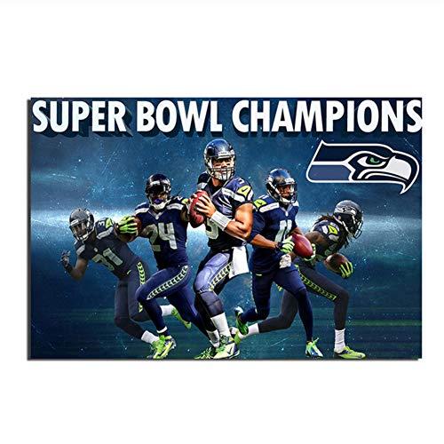 Suuyar Leinwandbild Seattle American Football Team HD Poster und Drucke Wandbilder für Wohnzimmer Druck auf Leinwand-60x90cm No Frame