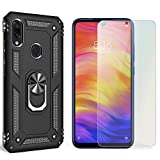 NALIA Case + Screen Protector Compatible with Xiaomi Redmi Note 7, 9H Tempered Glass & 360 Degree Rotating Ring Cover, for Magnetic Car Mount, Hardcase & Silicone Back Skin Shockproof, Color:Black