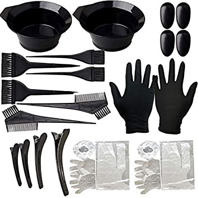 Orgrimmar 22PCS Hair Dye Coloring Kit Hair Tinting Bowl, Dye Brush, Ear Cover, Gloves for Hair Coloring Bleaching, Hair Dryers DIY Tools for Home and Salon Use