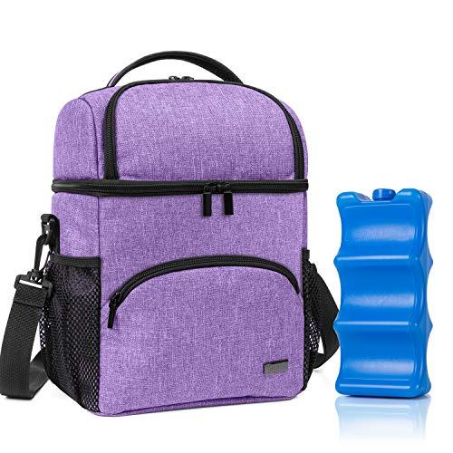 Teamoy Kühltasche für 6 Milchflasche, Doppelschicht Isolierte Flaschenhalter mit Kühlelement für Babyflaschen, Muttermilch Kühlbox für Unterwegs, Transport, Arbeit, Reise, Lila