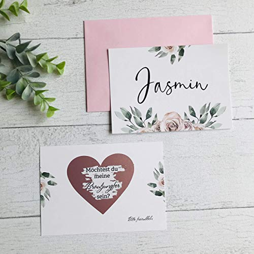 Karte Willst du meine Brautjungfer sein, Rubbelkarte, Hochzeit, Brautjungfer fragen, Personalisierte Geschenke - Rosa