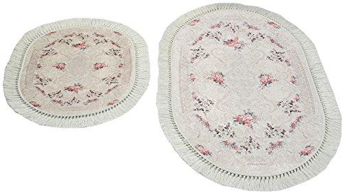 Merinos Badematte WC Teppich Set 2 teilig mit Blumen in Creme Größe 60x100 cm + 50x60 cm Oval