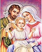 DMFNGJSD 数字油絵 フレーム付き 、数字キット塗り絵 手塗り DIY絵-宗教的なイエスの家族-デジタル油絵 40x50 cm