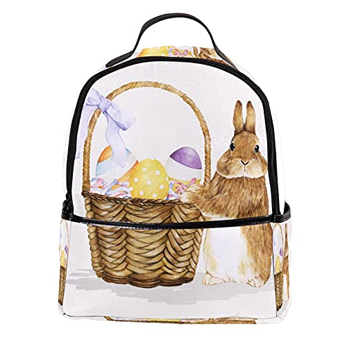 FURINKAZAN Conejito de Pascua con cesta de huevo de cuero de la PU Mini mochila monedero moda viaje mochila