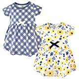 Touched by Nature Girls, Toddler, Baby and Womens Organic Cotton Short-Sleeve and Long-Sleeve Dresses, Yellow Garden Short Sleeve, 6-9 Months