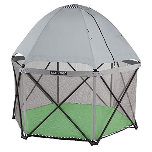 Summer Pop 'n Play SE Hex Playard, 6-Sided, Sweet Life Edition, Green Apple Color – Full Coverage Play Pen for Indoor and Outdoor Use - Fast, Easy and Compact Fold