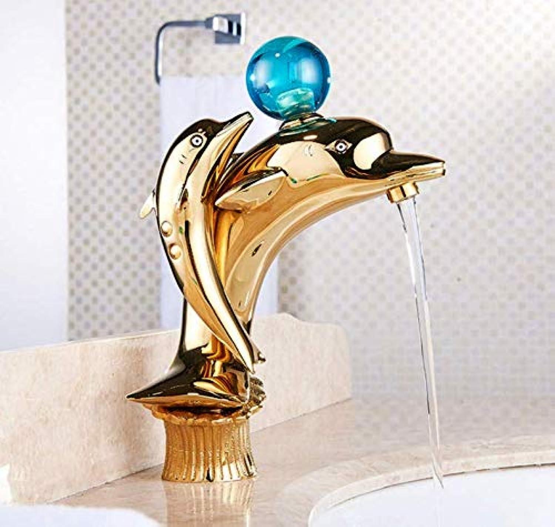 Wasserhahn Goldene Doppelte Delphin-Frmige Wasserhahn Küche Bad Wc Aufzug Wasserhahn Kupfernen Wasserhahn