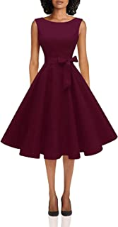 Hanpceirs Women's Boatneck Sleeveless Swing Vintage 1950s Cocktail Dress Burgundy 3X-Large