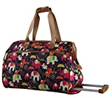 Lily Bloom Luggage Designer Pattern Suitcase Wheeled Duffel Carry On Bag (22in, Elephant Rain)