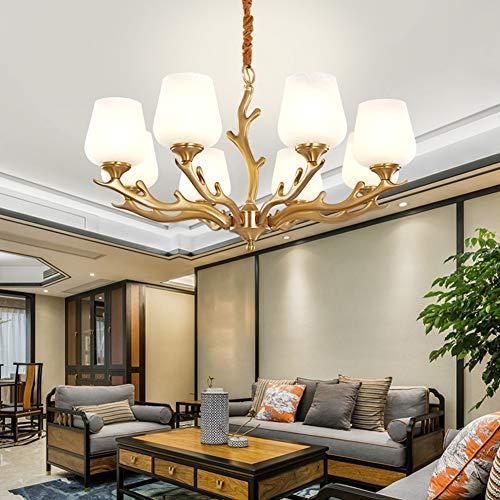 Lámpara de techo de cristal americano, restaurante, salón, cobre, lámpara colgante de lujo, sencilla y moderna, de latón nórdico (E27) moderno 8-80*45cm color