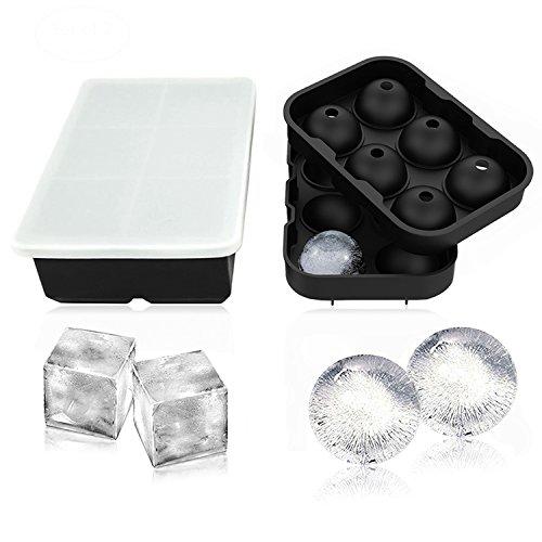 Hicyct Glaçons en Silicone Lot de 2, Sphère rond Ice Ball Maker et grande carré Moule Bac à Glaçons Glaçons Noir
