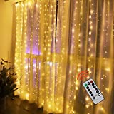 sitanes Curtain String Light, 9.8ftⅩ9.8ft USB Curtain Fairy Lights with 300 Led and 8 Lighting Modes Remote Control Waterfall Lights for Girls Bedroom Party Wall Decorations(Warm Color)