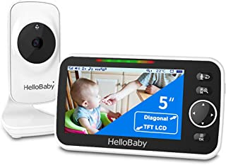 HelloBaby HB50 Video Baby Monitor with 5'' Color LCD Screen, Infrared Night Vision Camera, Temperature Display, Lullaby, T...