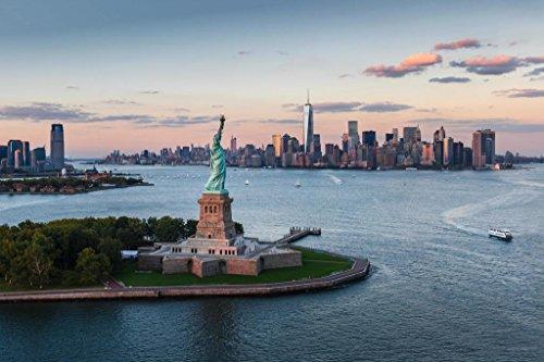 Statue of Liberty at Sunset New York City NYC Photo Photograph Cool Wall Decor Art Print Poster 36x24