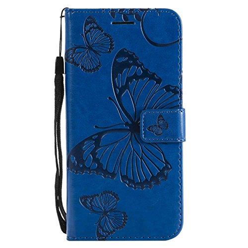DENDICO Cover Galaxy S7 Edge, Pelle Portafoglio Custodia per Samsung Galaxy S7 Edge Custodia a Libro con Funzione di appoggio e Porta Carte di cRossoito - Blu