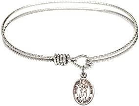 6 1/4 inch Oval Eye Hook Bangle Bracelet with a St. Ivo of Kelmartin charm./Saint Ivo of Kermartin is the patron saint of Attorneys/Orphans. Memorial Day May 19th./Attorneys/Orphans