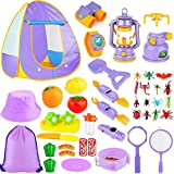 Kids Camping Tent Set Toys, MIBOTE 45pcs Pop Up Play Tent with Camping Gear Tools Indoor Outdoor Pretend Play Set for Boys/Girls - Including Telescope, Walkie Talkie, Camping Tent, Stove, and etc