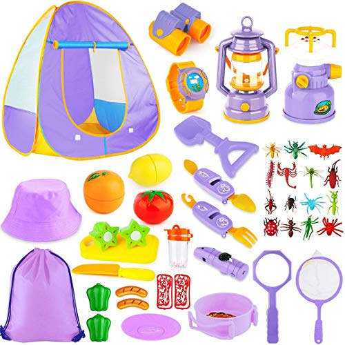 MIBOTE Kids Camping Tent Set Toys, 45pcs Pop Up Play Tent with Camping Gear Tools Indoor Outdoor Pretend Play Set for Boys/Girls - Including Telescope, Walkie Talkie, Camping Tent, Stove, and etc