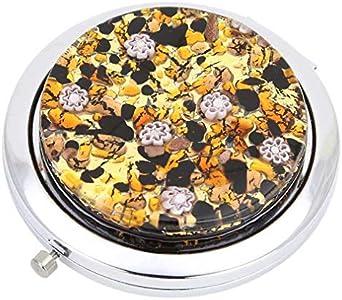 GlassOfVenice Millefiori Espejo compacto plegable de cristal de Murano, color dorado topacio
