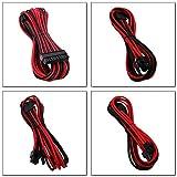 EZDIY-FAB Sleeved Cable-Prolunga per Alimentazione 24pin/8pin (4+4) M/B,8pin (6+2) PCI-E Kit Cavo di Prolunga 500mm Lunghezza-Nero Rosso