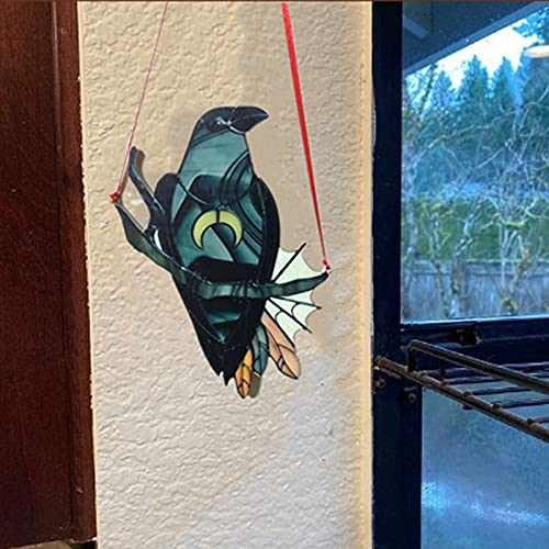 Syina Mysterious Crow Witch - Adornos decorativos de pared para interior y exterior, diseño de pájaro negro con cadena de luna