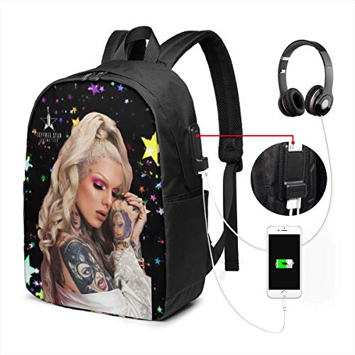 RichardJCrosby Business Jeffree Star Cool Music Bags with USB Charging Port 17 Inch Gift for Men Women