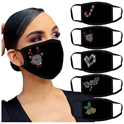 SGYH Women Reusable Face_Masks Outdoor Drill Print Christmas Breathable Fashion Cotton Headwear for Holiday Party Facial Decoration Breathable Comfortable Face Protection,Multicolor E2