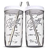 Reusable Wide Mouth Smoothie Cups Boba Tea Cups Bubble Tea Cups with Lids and Silver Straws Ball Mason Jars Glass Cups (2-pack, 24 oz mason jars)