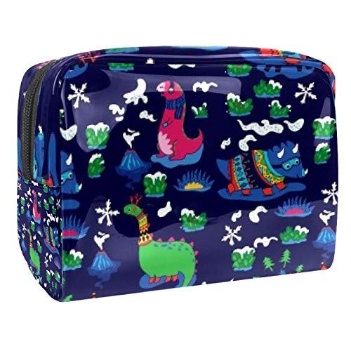 Bolsa de maquillaje portátil con cremallera bolsa de aseo de viaje para las mujeres práctico almacenamiento cosmético bolsa oscuro dinosaurio