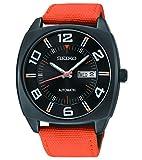 Seiko Recraft Series orologio automatico con 43.5mm PVD nero custodia, arancione cinturino in tela SNKN39