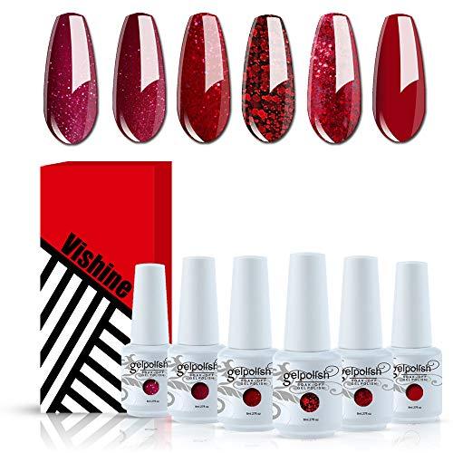 Vishine Red Glitter Gel Nail Polish Set - Burgundy Glitter Set of 6 Colors...