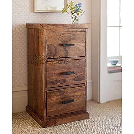 Kingwood Furniture French Style Sheesham Wood Chest of 3 Drawers (Standard, Honey)