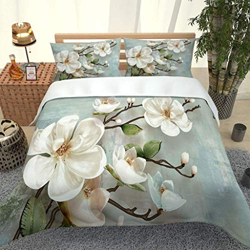GZMSOL Duvet Cover Set Single 3 Pieces Pretty White Flowers Printed Bedding Quilt Cover With Zipper Closure And 2 Pillow Cases Soft Hypoallergenic Microfiber Quilt Cover Sets 135X200Cm