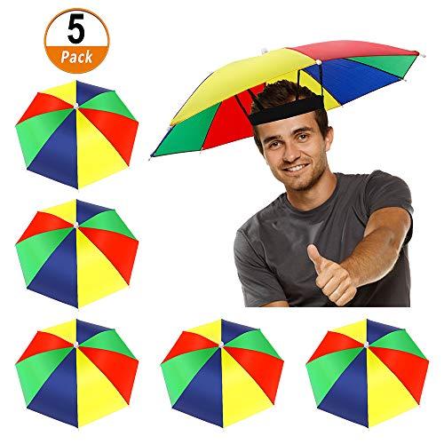 Heqishun 5 Stücke Regenschirmhut als Spassgeschenk an Karneval Regenschirmmütze Spaßiges Accessoire Kopfregenschirm Faltbarer Regenschirmhut für Dekoration Kostüm Golf Radfahren Angeln Gartenarbeit