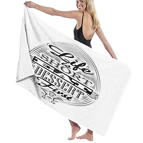 Microfiber Beach Towel,Life is Short Food Inspired Quote on Spoon Retro Chalk Board,Beach Blanket Soft Quick Dry Yoga towel Suitable for Adults Women men1