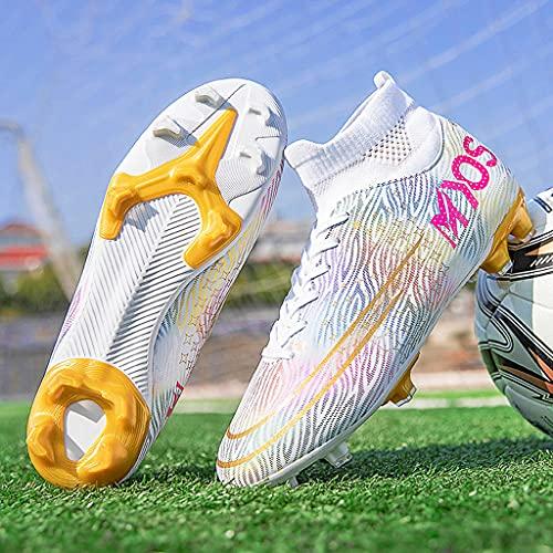 YUHAI Botas de fútbol para Hombres Mujeres con Cordones de lacios para jóvenes Zapatos de fútbol Profesional Zapatos,Long Nails K-39