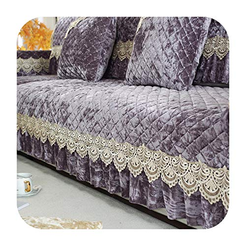 KASHINO Cojín de sofá de felpa antideslizante para verano europeo, cojín universal para cuatro estaciones, funda completa de sofá K-90x180 cm