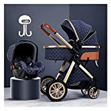 JCXT Stroller Car Seat Combo, Adjustable High View Prams and Strollers for Babys, Pushchair Stroller 3 in 1 Carriage with Stroller Rain Cover, Stroller Foot Cover, Stroller Fan (Color : Beige)