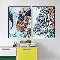 ポスターウォールアートカラー動物牛と虎の絵プリントユニークな絵リビングルーム寝室子供装飾(50x70cm)X2ノーフレーム