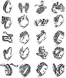 CASSIECA 20 Piezas Anillos Vintage Punk para Hombres Mujeres Anillos Góticos Ajustables Anillos Abiertos Apilables Rana Dragón Serpiente Pavo Real Plumas Anillos Retro