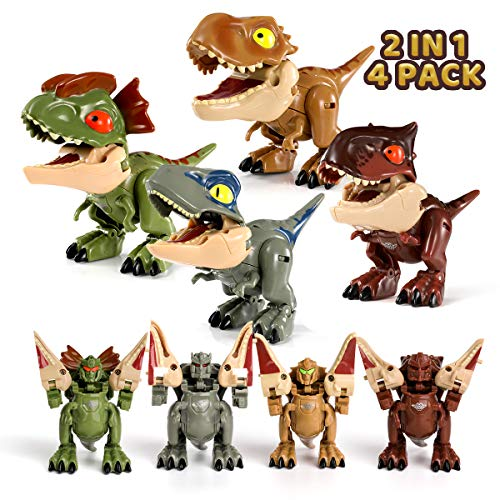 2 in 1 Transforming Dinosaur Toys, 4Pcs Deformation Dinosaur Robot with Movable Limbs, Tail and Mouth, Jurassic Dino Action Figure T-Rex Velociraptor Carnotaurus Dilophosaurus, Gift for Kids Aged 6+