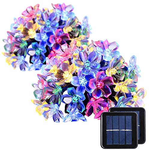 GIGALUMI 2 Pack Solar Strings Lights, Christmas Lights 23 Feet 50 LED Flower...