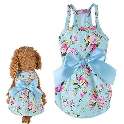 WESDOO Abbigliamento Cani Estate Vestiti Cani Gonna per Cane di Piccola Taglia Vestiti Estivi per Cani Abiti da Sposa per Cane Vestiti per Cuccioli Blue,XL