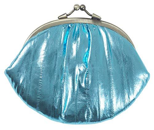 Becksöndergaard Geldbörse Damen Leder Hell Blau Metallisch Glänzend - Portemonnaie Granny Dusty Blue Weiches Aalleder Klippverschluss Metallic - 071