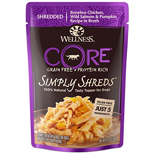 Wellness CORE Simply Shreds Natural Grain Free Wet Dog Food Mixer or Topper, Wild Salmon & Pumpkin , 2.8-Ounce Pouch (Pack of 12)