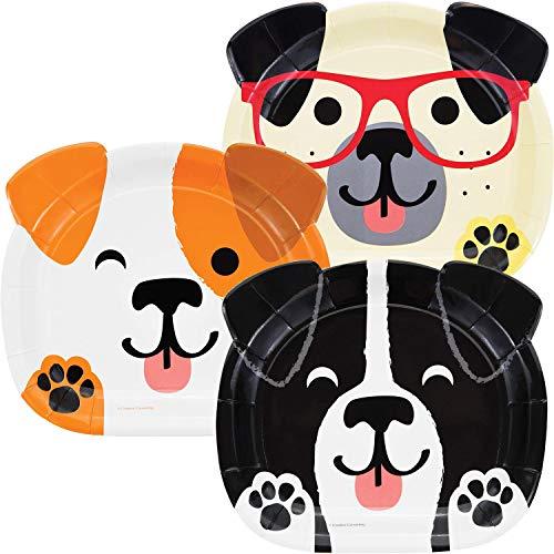 8 geformte Teller * Hundeparty * für eine Party rund um Haustiere   Jack Russell Terrier Mops Mottoparty Kinder Motto Hund Hunde Haustier Knochen Tier Party Pappteller Kindergeburtstag Geburtstag