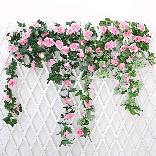 JUSTOYOU 2 Pack 7.2ft Artificial Fake Rose Garland Vines Colgando Flores de Seda para la Pared de la Boda al Aire Libre Interior Decoración del baño Badroom (Rosa)