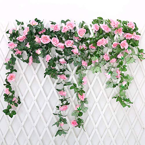 JUSTOYOU 2 Pack 7.2ft Artificial Fake Rose Garland Vines Hanging Silk Flowers for Outdoor Indoor Wedding Wall Badroom Decoration (Pink)