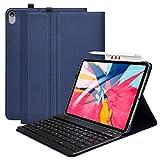 COO Coque Clavier pour iPad Pro 11 2018, Clavier AZERTY Français sans Fil Amovible, Supporte la Recharge du Stylo et Tablette iPad Housse pour modèle A1980 / A2013 / A1934(Bleu-Foncé)